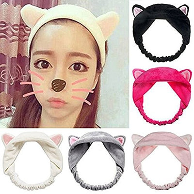 Frcolor Cute Cat Ear Hair Band for Women Wash Face and Makeup Running Sport, Pack of 5