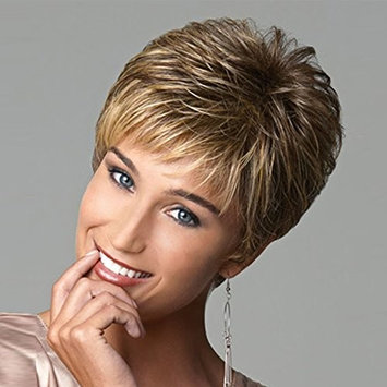 Short Pixie Cut Hair Wigs For Women Brown Blonde Mixed Color