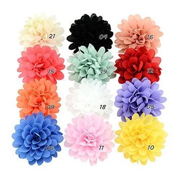 Loair Chiffon Flower Baby Girls Hair Clip - 12 PCS - Baby Girls Toddler Barrette Accessory