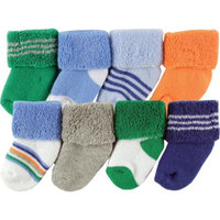 born Baby Boys' Terry Socks 8-Pack, Choose Your Color