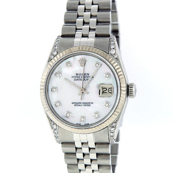 Pre-Owned Rolex Mens Datejust Steel & White Gold Mother of Pearl Diamond Watch 16014 Jubilee