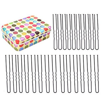 DINGJIN 120 Pcs U Shaped Hair Pins 2 Assorted Sizes(2.36 in + 2.76 in) Twist Hair Pins Bun Hair Pins With Mini Box For Storage