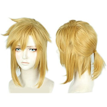 Linfairy Short Blonde Wig Halloween Cosplay Wig For Men Braid with Two Elf Ear