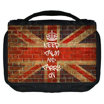 Keep Calm and Carry On-British Union Jack-Graffiti Wall Art Print Design TM Small Travel Sized Hanging Cosmetic/Toiletry Case with 3 Compartments and Detachable Hanger-Made in the U.S.A.