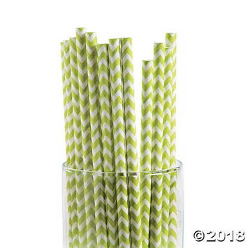 Lime Green Chevron Paper Straws