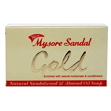 Mysore Sandal Gold Soap, 125 Grams Per Unit (Pack of 4) - Purest Sandalwood Soap - 100% Pure Essential Oils - Grade 1 Soap - TFM 80% - Suitable for ALL Skin Type - Enriched with Natural Moisturizer & Conditioners - Zero Dryness - Natural Sandalwood & Almond Oil Soap