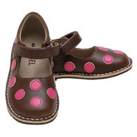 Brown Pink Polka Dot Mary Jane Shoes Girls Baby 4-Little Girls 12