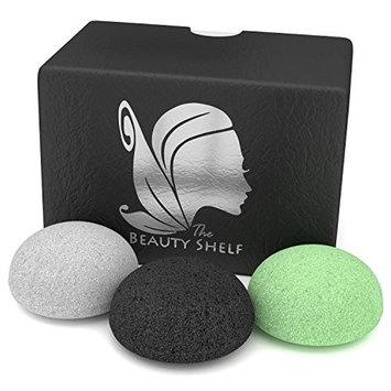 Beauty Shelf Konjac Sponge (3 Pack) - Facial Sponges - Hemisphere Shape - Charcoal, Green Tea, Natural White