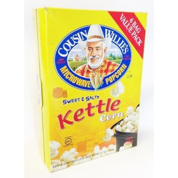 Cousin Willies Sweet & Salty Kettle Corn Microwave Popcorn - 6 Pop-n-Serve Bags (1 Box - 17.4 Ounces)