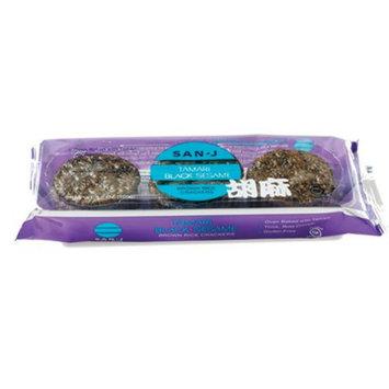 San J Tamari Black Sesame Brown Rice Crackers, 3.7 OZ (Pack of 12)