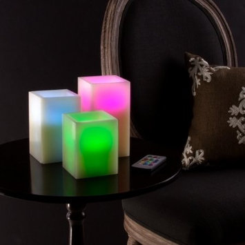 Trademark Global Llc 3pc Square Classic or Color Changing Flameless Candle with Remote -by Lavish Home