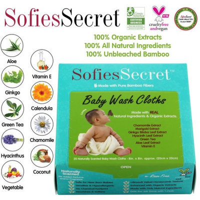 Moist Towel Services SofiesSecret Fragrance FREE Bamboo Baby Wipes, 100% Organic Ingredients, 20 Count, 8