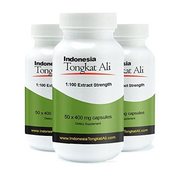 30% Off 3 Bottles of Real Herbs Indonesian Tongkat Ali 100 to 1 Extract - Natural Testosterone Booster - Also Known As Longjack or Eurycoma Longifolia - 400mg x 150 Vegetarian Capsules of Root Powder (Pack of 3)