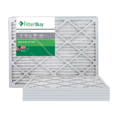 AFB Silver MERV 8 25x32x1 Pleated AC Furnace Air Filter. Filters. 100% produced in the USA. (Pack of 6)
