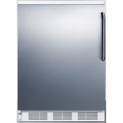 SUMMIT Freestanding refrigerator with auto defrost, stainless steel door and towel bar handle