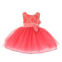 StylesILove Baby Girls Sequin Bow Sash Tulle Special Occasion Dress (2T, coral)