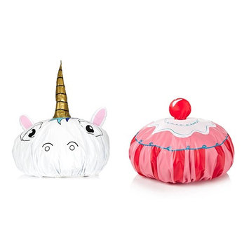 Unicorn and Queen of the Shower Funny Vinyl Shower Caps Gift Set Bundle of 2