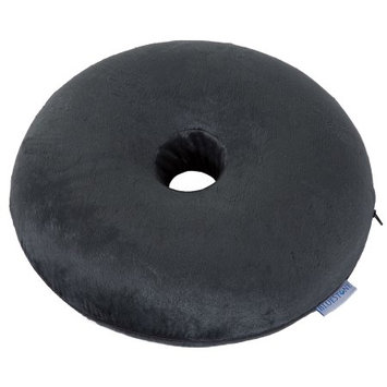 Trademark Global Games Bluestone Memory Foam Donut Cushion with Zippered Gray Plush Cover