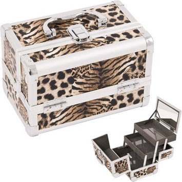 9 inch Brown Leopard Aluminum 2 Extended Tiers Makeup Artist Beauty Cosmetics Organizer Storage Travel Carrying Case