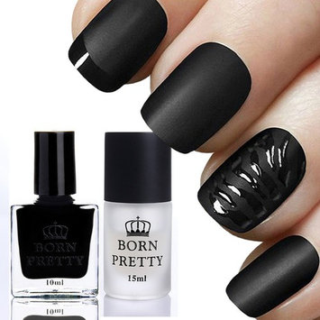 BORN PRETTY 2 Bottles 10ml Gloss Black Nail Polish with 15ml Matte Surface Top Coat Manicure Nail