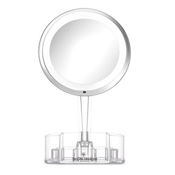 SKÖN lifestyle - Lighted 7X Magnifying Makeup Mirror with Clear Cosmetic Organizer Tray, 6 Inch Mirror with Bright LED Light