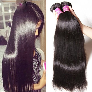 Unice Hair Malaysian Straight Virgin Hair 3 Bundles Wefts with 13X4 Ear to Ear Lace Frontal Closure Human Hair Extensions Natural Color (10 12 14+10Frontal)