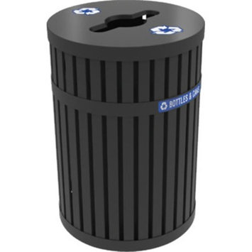 Commercial Zone Products 72830199 ArchTec Black Parkview 3 - 45 Gallon Trash Receptacle with Canopy