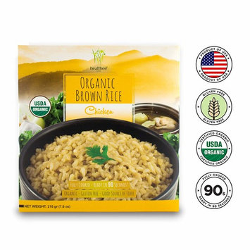 Healthee Organic Brown Rice, Gluten Free, Fully Cooked and Ready-to-Eat, USDA Certified Organic, GMO-Free, Microwaveable, 100% Whole Grain (Chicken, Pack of 12)