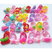 Cuhair 20pcs elastic cartoon design for girl ponytail holder hair tie rope rubber accessories