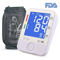 Automatic Upper Arm Blood Pressure Monitor- Adjustable Large BP Cuff(8.6-16.5inch), Blue Backlit Big Digital Display, FDA Approved BP Monitor with A/B Switch Button, 2 users 180 Groups Memory