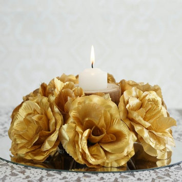 Balsacircle 8 Silk Roses Flowers Candle Rings - Gold