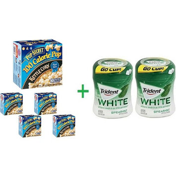 Pop Secret 100 Calorie Pop Kettle Corn Premium Popcorn, 10.00 ea (5 Pack) + 2 Trident Go Cup Spearmint 1/60 Count (BUNDLE)