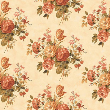 Blue Mountain Wallcoverings Blue Mountain Vintage Rose Bouquet Wallcoveringk, Peach/Apricot