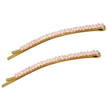 Faceted Crystal Row Two-Tone Bobby Pin - Aquamarine Blue (2 Pcs)