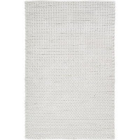 5' x 8' Solid Winter White Hand Woven New Zealand Wool Shag Area Throw Rug