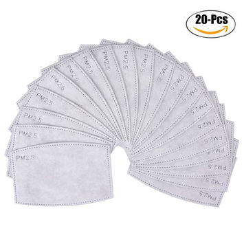 Aniwon Adult PM2.5 Mask Filters Dustproof 5 Layers Fabric Activated Carbon Filters Insert(20Pcs)