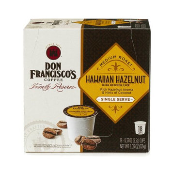 F. Gavi A & Sons, Inc. Don Francisco's Hawaiian Hazelnut, Medium Roast, Single-Serve Coffee, 18-Count (Pack of 6)