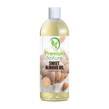 Sweet Almond Oil Carrier Oil - Cold Pressed Pure Natural Body Massage Oils for Essential Oils Mixing, Baby Oil Dry Skin Face Moisturizer Eye Makeup Remover Healthy Nails Cleansing Properties 16 oz