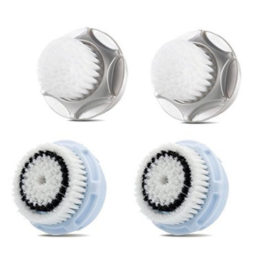 Compatible Replacement Brush Heads Value 4 Pack. Includes 2 Pack of Satin Precision High Performance Contour Brush Heads and 2 Pack of Delicate Skin Brush Heads []