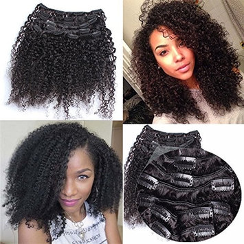 3B 3C Afro Kinkys Curly Clip In Human Hair Extensions 16