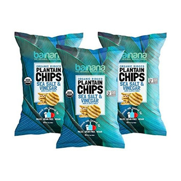 Barnana Organic Plantain Chips - Salt & Vinegar - 5 Ounce, 3 Pack Plantains Salty, Crunchy, Thick Sliced Snack - Best Chip For Your Everyday Life - Cooked in Premium Coconut Oil [Salt & Vinegar]