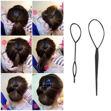 Ponytail Creator Plastic Loop Styling Tools Black Topsy Pony Tail Hair Braid