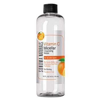 Sonoma Naturals Vitamin C Micellar Cleansing Water for Face & Eyes, 16 oz   Makeup Remover   Hydrating & Soothing   Gentle Cleanser   Removes Dirt & Oil   No Rinse   All Skin Types
