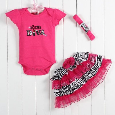 3 Piece Ruffle Set - Little Diva - 3-6 month