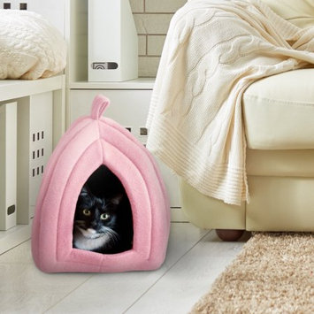 Trademark Global Games Cat Pet Bed, Igloo- Soft Indoor Enclosed Covered Tent/House for Cats, Kittens, and Small Pets with Removable Cushion Pad by PETMAKER