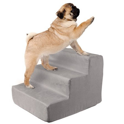 Trademark Global Games High Density Foam Pet Stairs 3 Steps with Machine Washable Zippered Removeable Micro-Fiber Cover with non-slip bottom by PETMAKER