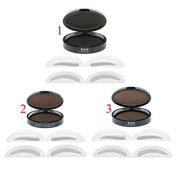 MagiDeal 3Pcs Eyebrow Stamp Powder Palette with 2 Types Shaper for Perfect Eyebrow Natural-looking Eyebrows Enhancer Brown Bright