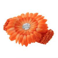 Baby Girl Crystal Daisy Peony Flower Hair Clip + Crochet Headband Hairwear
