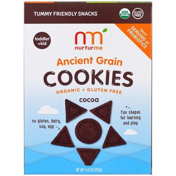 NurturMe, Organic Ancient Grain Cookies, Toddlers & Kids, Cocoa, 4.3 oz (122 g) [Flavor : Cocoa]