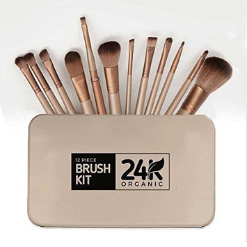 24K Makeup Brush Set 12pc. - Professional Premium Cosmetics Kit – Synthetic Face Tool – Eyeliner Eye Shadow Blending Blush Foundation Lip Kabuki Brushes - Powder Liquid Cream Concealer – Case Included